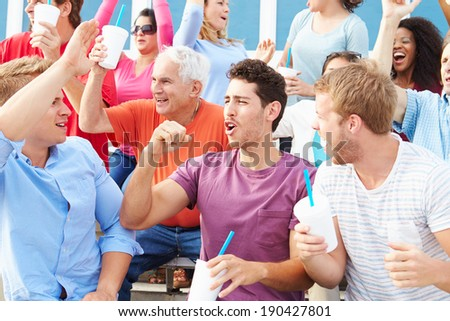 Spectators Cheering At Outdoor Sports Event - stock photo