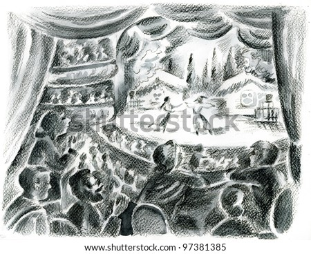 Spectators looking from theatre box to the ballet on stage. - stock photo