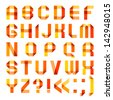 Spectral letters folded of paper ribbon-orange - Roman alphabet (A, B, C, D, E, F, G, H, I, J, K, L, M, N, O, P, Q, R, S, T, U, V, W, X, Y, Z). Vector version (eps) also available in gallery - stock vector