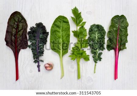 Spectrum of healthy green vegetable - stock photo