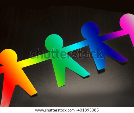 Spectrum paper people/Gay Pride/Figure cut out of cardboard with rainbow colors - stock photo