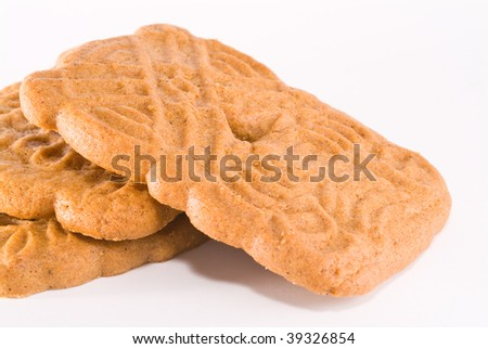 Speculaas dutch cookie on white - stock photo