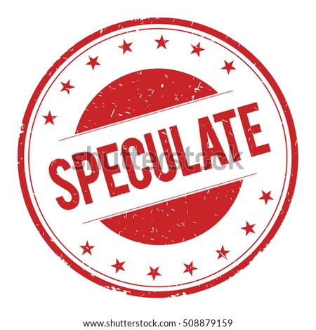 SPECULATE stamp sign text word logo red.