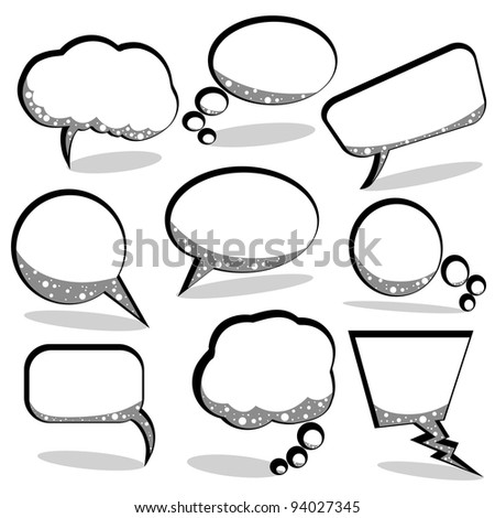 speech and thought bubbles against white background, abstract art illustration