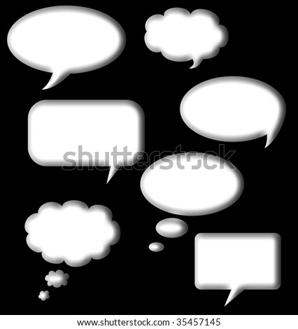 Speech and thought bubbles set in white isolated on black background with copy space. - stock photo