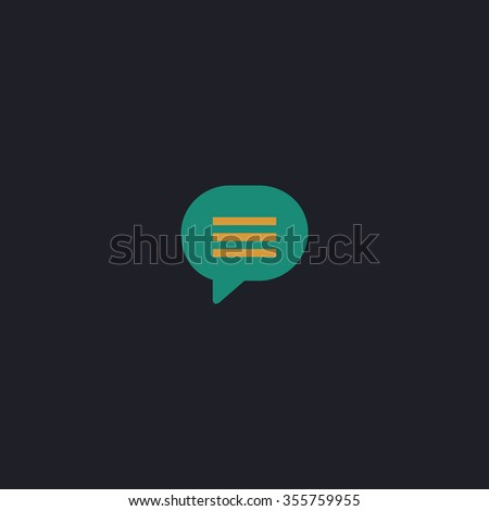 Speech bubble. Color flat icon on black background - stock photo