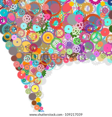 speech bubble design by gears - stock photo