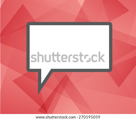 Speech bubble icon on red background.  trendy and modern abstract polygonal geometric background. Bright triangular ruby texture with white think cloud symbol. Web chat icon - stock photo