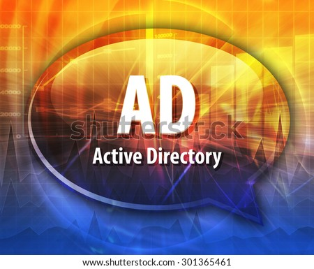 speech bubble illustration of information technology acronym abbreviation term definition, AD Active Directory - stock photo