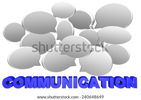 Speech bubble in 3d for communication concept on white background - stock photo
