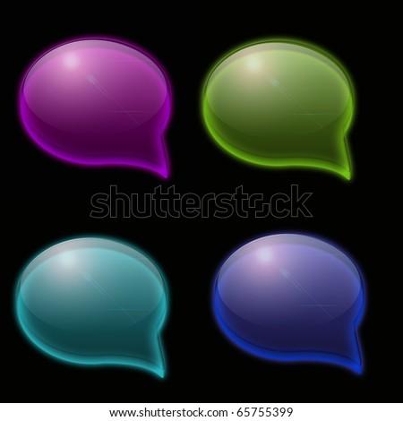Speech bubble on black background. - stock photo