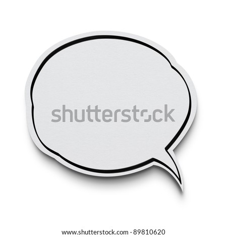 Speech bubble on white with clipping path - stock photo