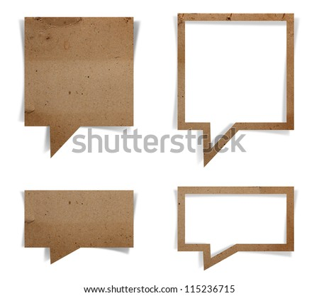 Speech bubble paper craft stick, isolated on white background (Save Paths For design work)