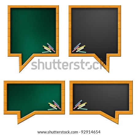 Speech bubble school desk and chalk on top of it. Isolated on white background - stock photo