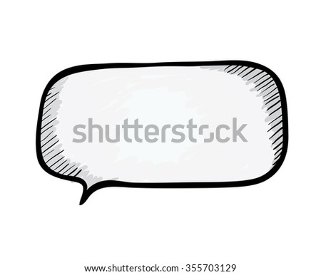Speech bubble. Sketch illustration isolated on white. - stock photo