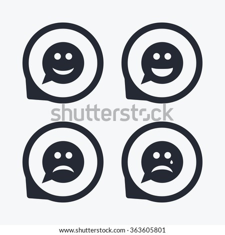 Speech bubble smile face icons. Happy, sad, cry signs. Happy smiley chat symbol. Sadness depression and crying signs. Flat icon pointers. - stock photo