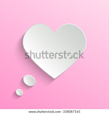 Speech Bubble. White Paper Heart With Shadow On Pink Background. Valentine's day Background - stock photo