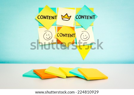 Speech bubble with content word. Business concept. Sketch notes with blue background - stock photo