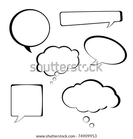 Speech bubbles collection on white background - stock photo