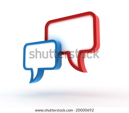 Speech bubbles. 3D generated image. - stock photo