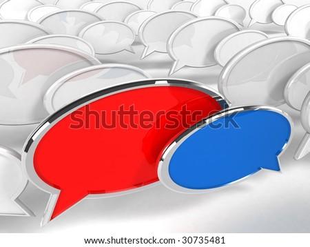 Speech Bubbles - 3d render - stock photo