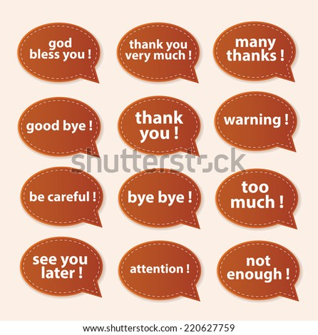 Speech Bubbles Greeting Proud Collection - stock photo