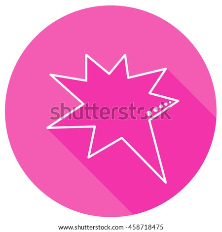 Speech bubbles in pink round with shadow in thin line style