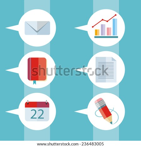 Speech bubbles set with pictograms of letter, graph, notebook, calendar and pencil. Raster version - stock photo