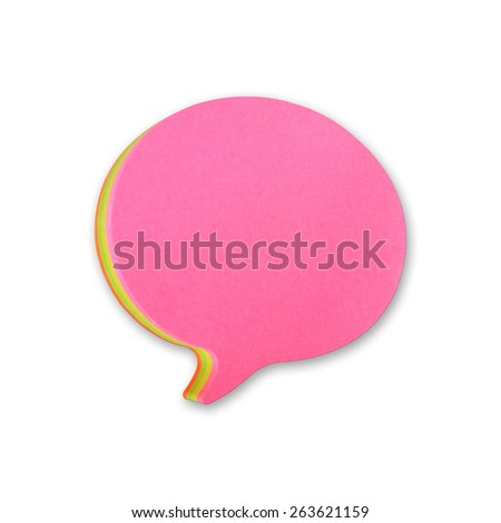 speech bubbles sticky note of cartoon and comics over white background, with shadow - stock photo