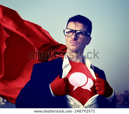 Speech bubbles Strong Superhero Success Professional Empowerment Stock Concept - stock photo