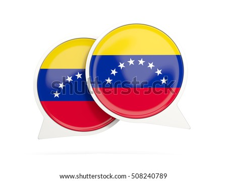 Speech bubbles with flag of venezuela. Round chat icon isolated on white, 3D illustration