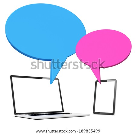 Speech Bubbles With Laptop and Tablet