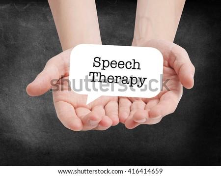 Speech therapy written on a speechbubble - stock photo