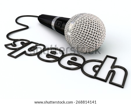 Speech word in a microphone cord to illustrate public speaking or giving a presentation to an audience or crowd of people - stock photo