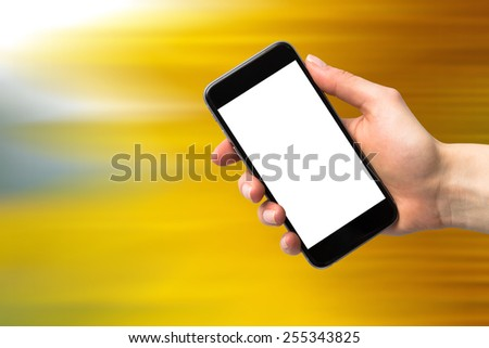 speed background and phone - stock photo
