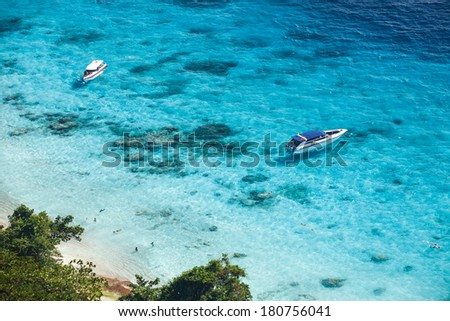 Speed boat in crystal clear tropical sea, Similan island, Thailand