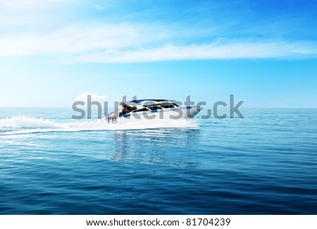 speed boat in tropical sea - stock photo