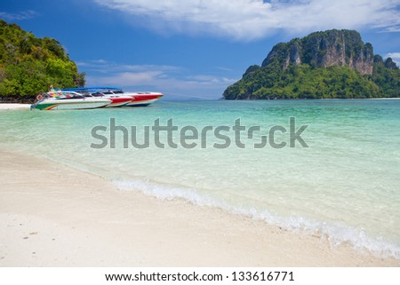 speed boat in tropical sea in Thailand - stock photo
