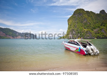speed boat in tropical sea National Park in Thailand - stock photo