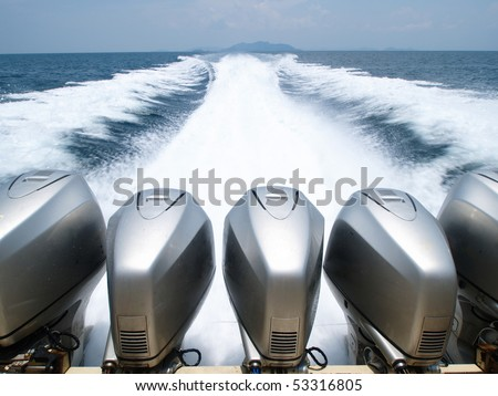 Speed Boat's Engines with Full Speed Drive - stock photo