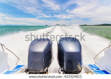 Speed Boat's Engines with Full Speed Drive in Andaman, Krabi, Thailand. - stock photo
