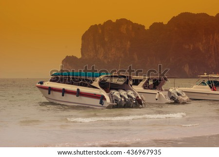 Speed Boat.Speed Boat Moored In The Caribbean Sea Ready For Deep Sea Fishing. - stock photo