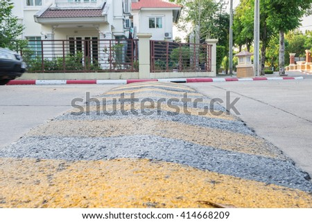 Speed bump on a road - stock photo