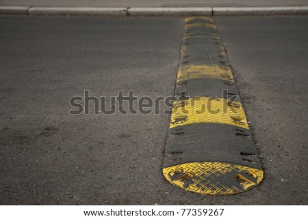 Speed bump on a road