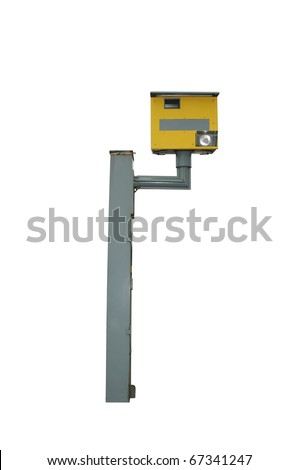 Speed camera box, isolated on pure white - stock photo