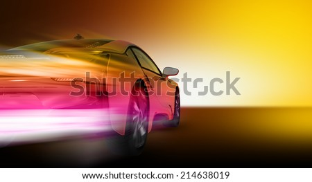 Speed car (HD Render)  - stock photo