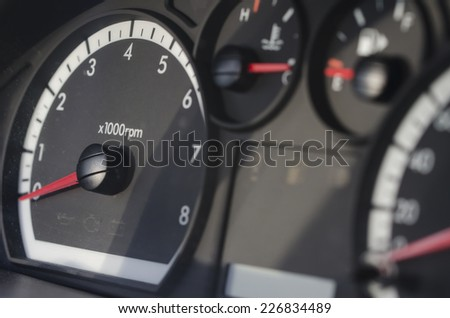 Speed counter showing zero kilometers per hour