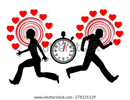 Speed Dating Concept. Man and woman racing against the clock for the right partner - stock photo