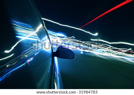 speed drive in night - stock photo