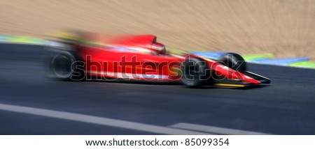 Speed effect on a racing car F1 type.
